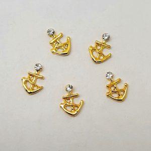 anchor and rhinestone nail charms