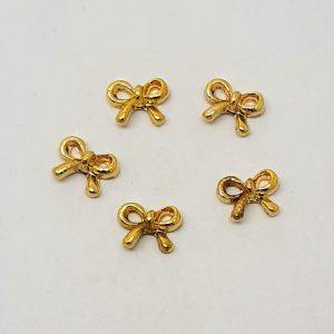 bow nail charms gold