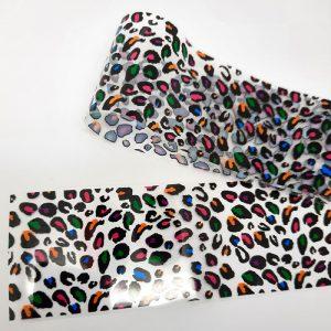 coloured leopard nail foil