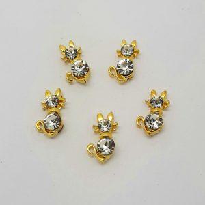 crystal cat nail charms