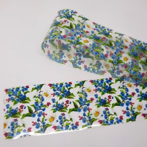 daisies and blue flowers foil