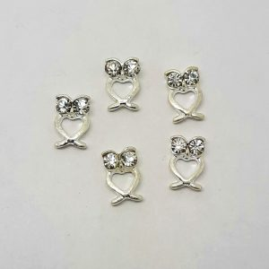 silver heart owls with gem nail charms