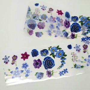blue flowers nail foil