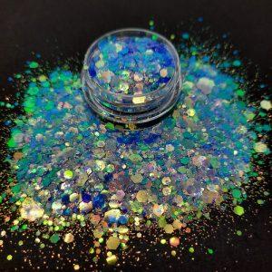deep blue hexagon glitter mix