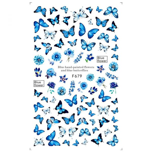 blue butterfly and flower stickers