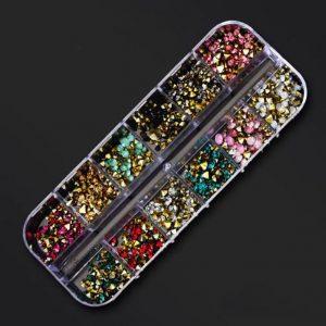 coloured crystals nail studs