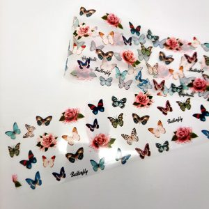 butterfly foil with pink roses