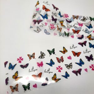 butterfly foil and pink flowers