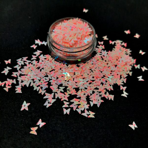 butterfly glitter iridescent pinks white
