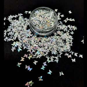 butterfly glitter iridescent white grey