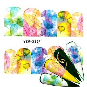 colourful leaf nail wraps