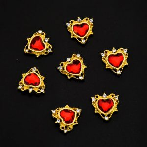 ornate heart charms red