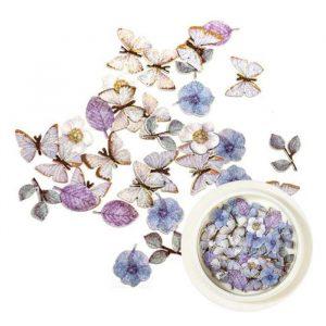 blue flowers leaves butterflies