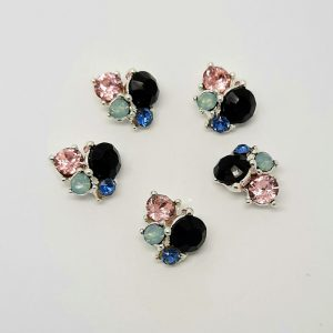 Black pink blue green nail cluster charms