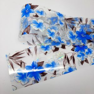 blue and silver holo flowers foil