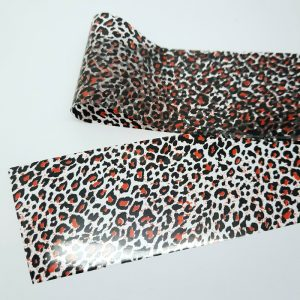 black and red leopard print nail foil