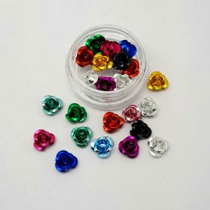 coloured metal roses nail decoration