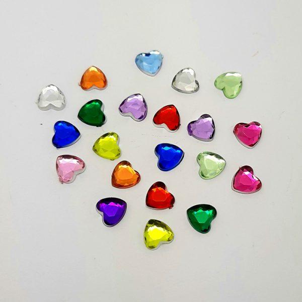 rhinestone nail hearts