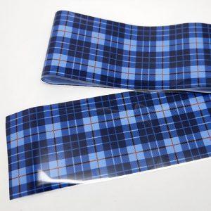 black and blue tartan nail foil