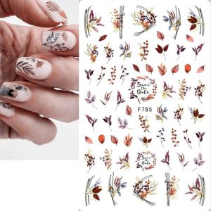 leaves nail stickers