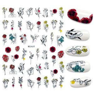 woman with fowers and leaves nail stickers
